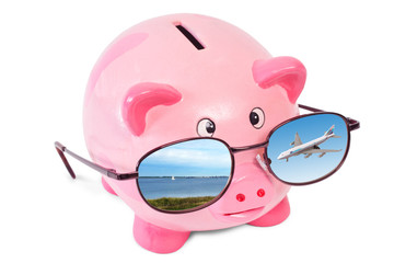 pink piggy bank with sunglasses