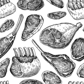 Raw meat seamless pattern. Vector drawing. Hand drawn beef steak