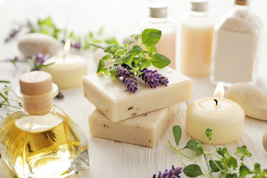 lavender SPA cosmetics: soap, essential oils, aromatherapy candles and flowers
