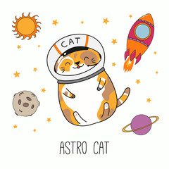 Wall Murals Illustrations Hand drawn vector illustration of a kawaii funny astronaut cat in a helmet, with rocket, planets. Isolated objects on white background. Line drawing. Design concept for children print.