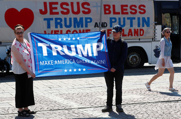 Supporters' demonstration during the Trump-Putin summit in Helsinki