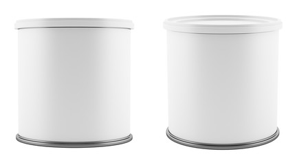 blank metal tin can with white plastic lid isolated on white background