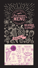 Ice cream restaurant menu. Vector dessert food flyer for bar and cafe. Design template on blackboard background with vintage hand-drawn illustrations.