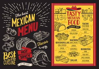 Mexican restaurant menu on blackboard background. Vector food flyer for bar and cafe. Design template with vintage hand-drawn illustrations.