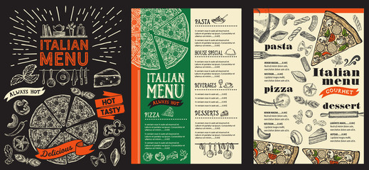 Pizza restaurant menu. Vector food flyer for bar and cafe. Design template with vintage hand-drawn illustrations on blackboard background.