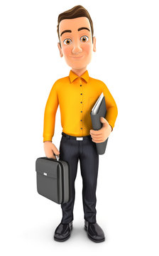 3d man standing and holding briefcase