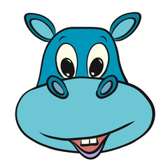 Funny and cheerful blue hippo with a happy smile