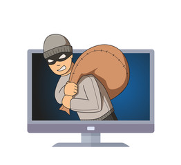 Masked burglar smiling in computer monitor with bag on his shoulder. Criminal on TV. Flat vector illustration. Isolated on white background.