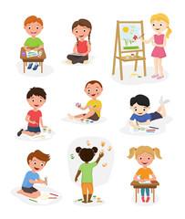 Artist cute kids vector paint art child creative drawing artwork painter kid boys and girls art people cartoon childhood illustration isolated little creativity.