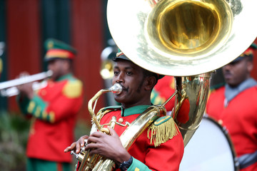 A marching band plays during the inauguration ceremony marking the reopening of the Eritrean Embassy in Addis Ababa