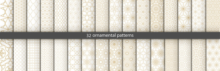 Super Big set of 32 oriental patterns. White and gold background with Arabic ornaments. Patterns, backgrounds and wallpapers for your design. Textile ornament. Vector illustration. Wall mural