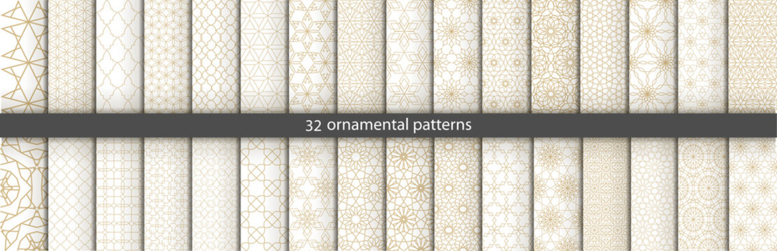 Super Big set of 32 oriental patterns. White and gold background with Arabic ornaments. Patterns, backgrounds and wallpapers for your design. Textile ornament. Vector illustration.