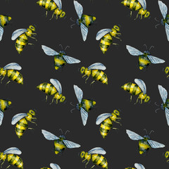 Seamless pattern with watercolor bees, hand drawn isolated on a dark background