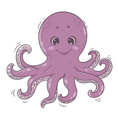 Cute cartoon octopus. Sea character