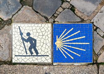 Camino de Santiago pilgrimage sign in Chartres, France.