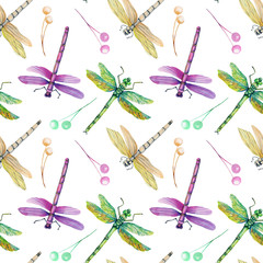 Seamless pattern with watercolor colorful dragonflies, hand painted on a white background