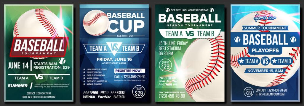 Baseball Poster Set Vector. Design For Sport Bar Promotion. Base. Baseball Ball. Modern Tournament. Sport Game Event Announcement. Flyer, Banner Advertising. Template Illustration