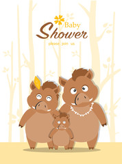Portrait wild boar family on baby shower invitations cards, poster, greeting, template, animals,wild boars,pig,hogs,Vector illustrations