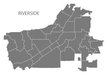 Riverside California city map with neighborhoods grey illustration silhouette shape