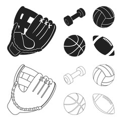 A bat with a ball for baseball, a weight for muscles, a ball for playing, a bench for fitness. Sport set collection icons in black,outline style vector symbol stock illustration web.