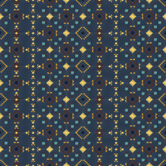 Geometric embroidery style. Ethnic seamless pattern. Abstract aztec background. Digital or wrapping paper. Boho ornament vector.