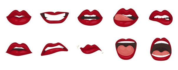 Cartoon icons set isolated. Cute mouth expressions facial gestures lips sadness rapture disappointment fear surprise joy smile cry despondency coquetry cute mouth. Isolated vector illustration