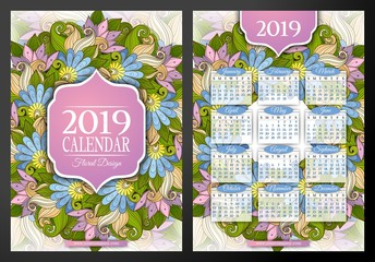 Colored 2019 Year Calendar Rectangular Template, Double-sided. Beautiful Abstract Flowers, Elegant Feminine Design. Corporate Identity, Flyer, Poster. Vector Illustration. Clipping Mask, Editable
