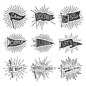 Set of adventure, outdoors, camping pennants. Retro monochrome labels with light rays. Hand drawn wanderlust style. Pennant travel flags design