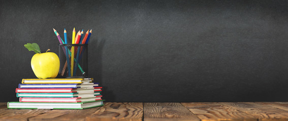 Back to School Concept with Stationery Supplies and Blackboard Wall mural