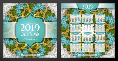 Colored 2019 Year Calendar Square Template, Double-sided. Beautiful Abstract Flowers, Elegant Feminine Design. Corporate Identity, Flyer, Poster. Vector Illustration. Clipping Mask, Editable