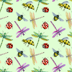 Seamless pattern with watercolor colorful dragonflies, bees and ladybugs hand painted on a green background