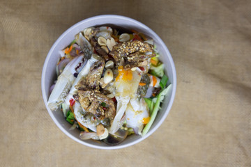 Thai spicy blue crab salad with vegetable