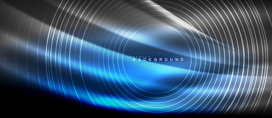 Neon glowing lines, magic energy space light concept, abstract background wallpaper design