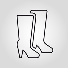 Women's boots isolated linear vector icon