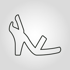 Womens shoes isolated linear flat vector icon