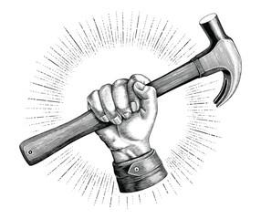 Hand holding hammer illustration vintage clip art for carpenter logo isolated on white background
