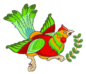 Stylized portrait of a pheasant with a beautiful tail