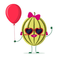 Cute watermelon cartoon character sunglasses hearts, bow and earrings. Holds a red air balloon. Vector illustration, a flat style.