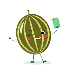 Cute watermelon cartoon character with a smartphone and does selfie. Vector illustration, a flat style.