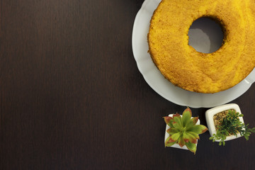 Top view of the Brazilian traditional carrot cake