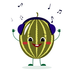A cute watermelon character in cartoon style listening to music on headphones. Vector illustration, a flat style.