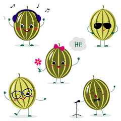 A set of five watermelon Smiley in a cartoon style. In headphones, in sunglasses, dancing in glasses , with a flower, singing into the microphone. Flat, vector.