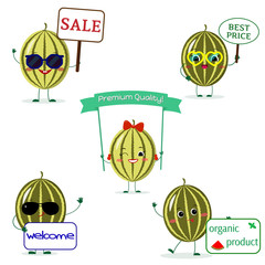 A set of five watermelon Smiley in cartoon style. With different plates and glasses. Flat, vector.