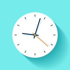 Clock icon in flat style, round timer on blue background. Simple watch. Vector design element for you business projects