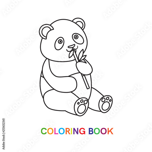 Panda for coloring book.Isolated on white background.Line ...