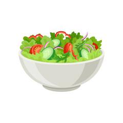 Fresh vegetable salad in gray ceramic bowl. Fresh and healthy food. Vegetarian nutrition. Flat vector for cafe or restaurant menu