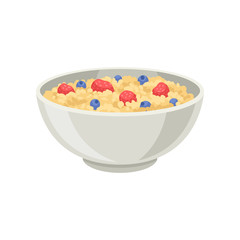 Flat vector icon of oatmeal porridge or rice with blueberry and strawberry in ceramic bowl. Delicious and healthy food for breakfast