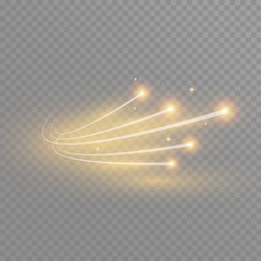 Abstract vector glowing magic star light effect from the neon blur of curved lines. Glittering stars dust trail from the side.flying comet on a transparent background
