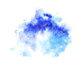 A bright blue formless watercolor blot silhouette
