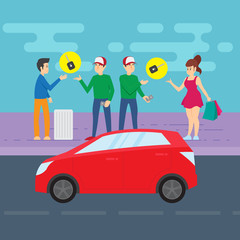 Group of people and a vehicle. Car sharing concept. Vector illustration.